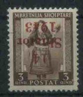 1943 Occupazione Tedesca Albania, Valore 3 Q Con Soprastampa Capovolta Nuovo (*) - Occ. Allemande: Albanie