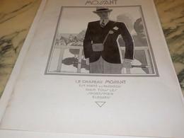 ANCIENNE  PUBLICITE PORTE AU PADDOCK CHAPEAU MOSSANT 1930 - Afiches