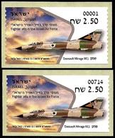 ISRAEL 2019 - Israeli Air Force Fighter Jets - DASSAULT MIRAGE IIICJ -  # 001 & # 714 ATM Labels - MNH - Militaria