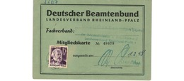 Rheinland- Pfalz -  Mitgliedskarte  -  Avrc 15 Pf   -  1/2/1958 - Zona Francese