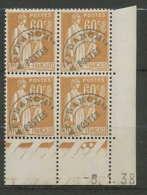 939 - France - Coin Daté - N° 72 Type Paix ** Preoblitérés 05/01/1938 2 Point Dans La Cartouche Du Bas - Coins Datés