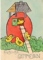 Fröhliche Ostern Handzeichnung Gemalt Ca 1950 ? - Ostern