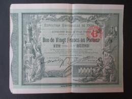VP EXPOSITION UNIVERSELLE PARIS 1900 (V1906) BON 20 FRANCS AU PORTEUR (6 Vues) + Talon Et Convention Serie 179 N°07,782 - Documents Historiques