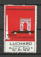 FRANCE 1961 Vignette 48 E Salon De L`Automobile Luchard Paris EXPO Foire MNH - Erinnophilie