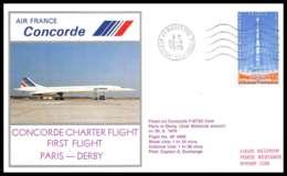 0276 Concorde Paris Derby 30/9/1979 Lettre Premier Vol First Flight Airmail Cover Luftpost - Concorde
