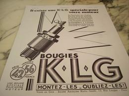 ANCIENNE AFFICHE PUBLICITE LA BOUGIE KLG  1930 - Afiches
