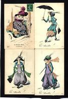 CPA Série De 4 Cartes Femme Girl Woman Art Nouveau Non Circulé Et Circulé ROBERTY Chapeau Mode - Mujeres