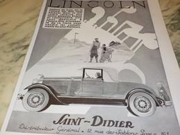 ANCIENNE PUBLICITE GOLF ET VOITURE MAGASIN LINCOLN SR DIDIER 1930 - Afiches