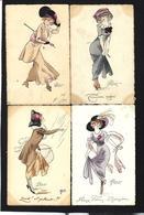 CPA Série De 4 Cartes Femme Girl Woman Art Nouveau  Circulé PREJELAN Vienne MUNK Chapeau Mode - Mujeres