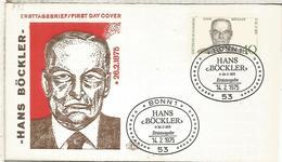 ALEMANIA FDC 1975 HANS BOCKLER POLITICO SINDICALISTA - Profesiones