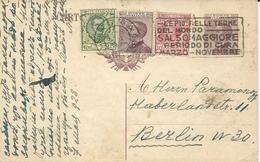 CARTE POSTALE A 20 CENT 1928 AVEC AFFRANCHISSEMENT COMPLEMENTAIRE DE 3 TIMBRES POUR L'ALLEMAGNE - 1900-44 Victor Emmanuel III.