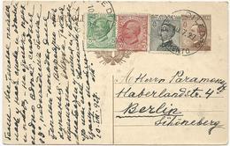 CARTE POSTALE A 40 CENT 1927 AVEC AFFRANCHISSEMENT COMPLEMENTAIRE DE 3 TIMBRES POUR L'ALLEMAGNE - 1900-44 Victor Emmanuel III.