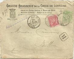 GRANDE BRASSERIE DE LA CROIX DE LORRAINE BAR-LE-DUC Nov. 1900 ENVELOPPE RECOMMANDEE Types SAGE - 1877-1920: Periodo Semi Moderno