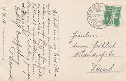 """Bahnpoststempel """"Luzern-Engelberg-Luzern"""" - Auf Ansichtskarte Von 1913     (90720) - Ferrocarril"""