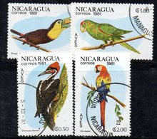APR1925 - NICARAGUA , Pappagalli :  4 Valori Usati  (2380A) - Nicaragua