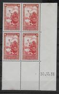 1936 1937 Algérie N° 125 (bloc De 4) Nf** MNH . Coin Daté 30.10.39 . Oued à Colomb-Béchar . - Algerije (1924-1962)