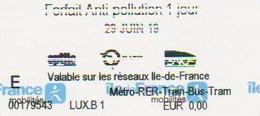 TICKET  ECHANGE RATP METRO POLLUTION 29 JUIN 2019 - Europa