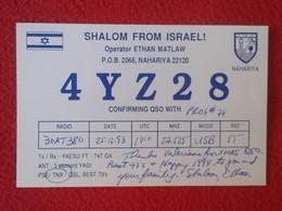 POSTAL POST CARD QSL RADIOAFICIONADOS RADIO AMATEUR GRUPPO ALFA TANGO ITALIA SHALOM FROM ISRAEL NAHARIYA ASIA ASIE...... - Tarjetas QSL