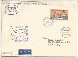 CHECOSLOVAQUIA CC PRIMER VUELO CSA PRAHA OSTROVA 1966 - Corréo Aéreo