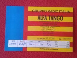 POSTAL POST CARD QSL RADIOAFICIONADOS RADIO AMATEUR GRUPPO ALFA TANGO ITALIA SPAIN VALENCIA COMUNIDAD VALENCIANA FLAG... - Tarjetas QSL