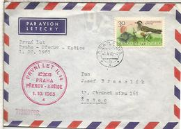 CHECOSLOVAQUIA CC PRIMER VUELO CSA PRAHA PREROV KOSICE 1965 - Corréo Aéreo