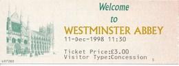 Grossbritannien London Eintrittskarte 1998 Westminster Abbey - Eintrittskarten