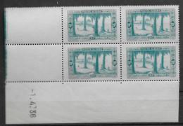 1936 1937 Algérie N° 126 (bloc De 4) Nf** MNH . Coin Daté 1  4 .36 . Marabout à Touggourt - Algerije (1924-1962)
