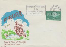Enveloppe  FRANCE  EUROPA   Grand  Prix  De   Moto - Cross   THOMER  LA  SOGNE      EVREUX  1961 - Motos
