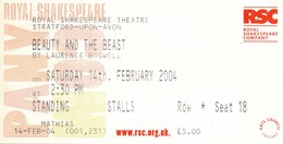 Grossbritannien  Stratford-Upon-Avon Eintrittskarte 2004 Shakespeare Theater Die Schöne Und Das Biest - Eintrittskarten