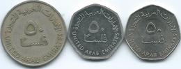 United Arab Emirates - 50 Fils - AH1393 (1973 - KM5) AH1428 (2007 - KM16) AH1434 (2013 - KM16a - Magnetic) - United Arab Emirates