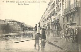 NANTES Pendant Les Inondations (1904) Le Quai Turenne, Animée En Gros Plan - Nantes