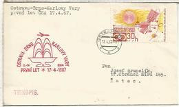CHECOSLOVAQUIA  CC PRIMER VUELO CSA OSTRAVA BRNO KARLOVY VARY 1967 - Corréo Aéreo