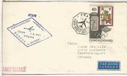 CHECOSLOVAQUIA CC PRIMER VUELO CSA PRAHA GENEVE MARSEILLE 1969 - Corréo Aéreo