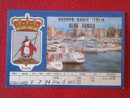 POSTAL POST CARD QSL RADIOAFICIONADOS RADIO AMATEUR GRUPPO ALFA TANGO ITALIA SPAIN ESPAÑA GIJÓN ASTURIAS PUERTO HARBOUR. - Tarjetas QSL
