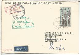 CHECOSLOVAQUIA CC PRIMER VUELO CSA PRAHA TITOGRAD YUGOSLAVIA 1966 - Corréo Aéreo