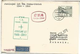 CHECOSLOVAQUIA CC PRIMER VUELO CSA PRAHA ZURICH 1966 - Posta Aerea