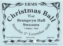 Grossbritannien Swansea Eintrittskarte 1998 Christmas Ball Th Brangwyn Hall - Eintrittskarten