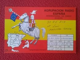 POSTAL POST CARD QSL RADIOAFICIONADOS RADIO AMATEUR AGRUPACIÓN ESPAÑA SPAIN MAPA MAP BANDERA FLAG CABALLERO KGNIGHT VER - Tarjetas QSL