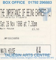 Grossbritannien Swansea Eintrittskarte 1998 Universty Of Swansea The Importance Of Being Earnest - Eintrittskarten