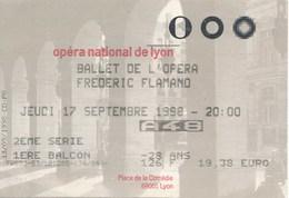 Frankreich Lyon Eintrittskarte 1998 Opera National De Lyon Ballet De Lòpera Oper - Eintrittskarten