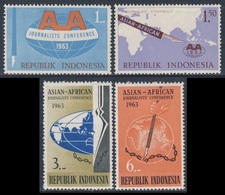 Indonesia Indonesie 1963 Mi 396 /9 Sc 593 /6 SG 958 /61 ** Asian-African Journalists' Conference/ Journalisten-Konferenz - Indonesië