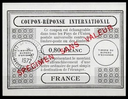 FRANCE COURS D'INSTRUCTION Reply Coupon Reponse Simili Type London 0,80 FRANC And SPECIMEN SANS VALEUR O LIMOGES 4.12.72 - Ganzsachen
