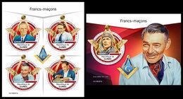GUINEA 2019 - Freemasons. M/S + S/S. Official Issue - Freemasonry
