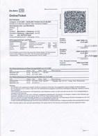 BRD DB Online Ticket Eisenbahn Mannheim -> Hamburg Und Rückfahrt 2007 - Spoorwegen