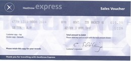 Grossbritannien Heathrow (= Flughafen) -> London Fahrkarte 1999 Eisenbahn Express - Spoorwegen