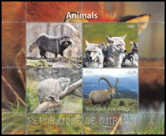 2011a/ Bloc Loup 'wolf) Chat (chats Cat Cats) Raton Laveur Raccoon Bouquetin Neuf ** MNH Tirage Privé Local Stamp Vignet - Big Cats (cats Of Prey)
