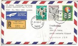 NACIONES UNIDAS WIEN  CC PRIMER VUELO AUSTRIAN AIRLINES WIEN LONDON 1983 - Aéreo