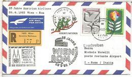 NACIONES UNIDAS WIEN CC PRIMER VUELO AUSTRIAN AIRLINES WIEN ROMA COLISEO - Aéreo