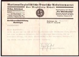 Militaria 2. Weltkrieg Brief Von Der NS-Frauenschaft Mit Inhalt - 1939-45