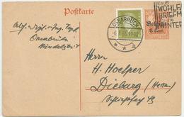 ALLEMAGNE POSTKARTE 1933 OSNABRÜCK. BELGIEN 7 1/2 + DEUTSCHES REICH N° 465 - Lettres & Documents
